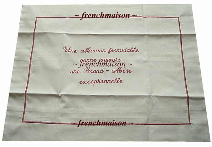 French Words Embroidered Pillowcase Mother/grandmother Gift Baby From France