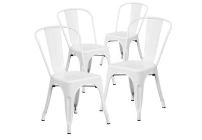 Set of 4 White Metal Chairs Bistro Style Restaurant Patio Ou