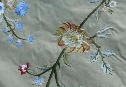 11Y SCALAMANDRE MEGALA SILK EMBROIDERY TREE OF LIFE FLOWER CELADON BLUE MSRP$252