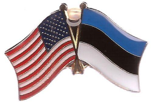 LOT OF 12 Estonia Friendship Flag Lapel Pins - Estonia Crossed Flag Pin