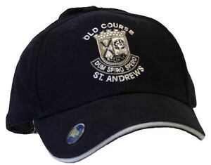 GOLF GIFT - BLACK CAP HAT - ST ANDREWS OLD COURSE WITH BALL MARKER - NEW