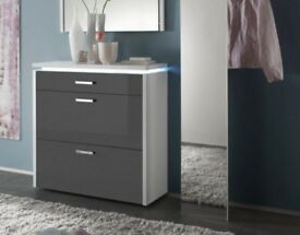 Luce 2 Door and Drawer Modern High Gloss Grey Shoe Storage RRP £770.00 40% OFF