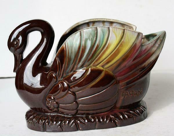 Swan Figurine Redware Beautiful Planter Flower Vase Pottery Made in Japan Large