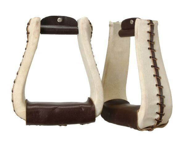 """Western Ropers Stirrups - Rawhide and Leather Laced - Deep 6"""" Inside Height"""