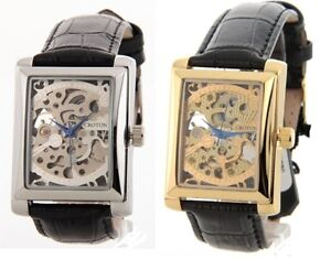 Croton-Skeleton-AUTOMATIC-Gold-or-Silver-Rectangle-Dial-Black-Leather-Men-Watch