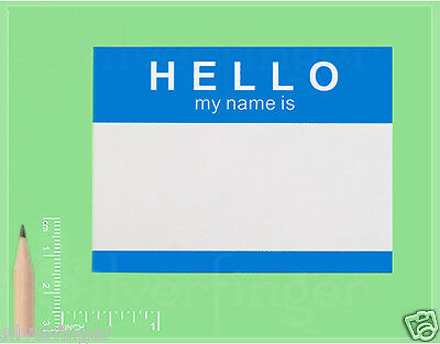 25 250 Labels   Hello My Name Is   Name Tag Id Badge Stickers  Peel   Stick Blue