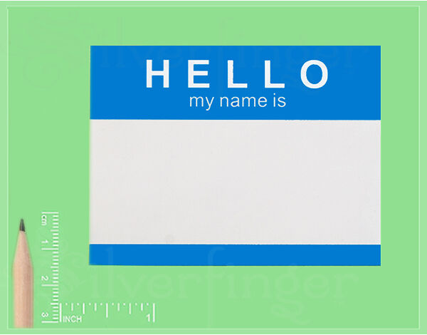 25-250 Labels • HELLO My Name Is • Name Tag ID Badge Stickers —Peel & Stick Blue