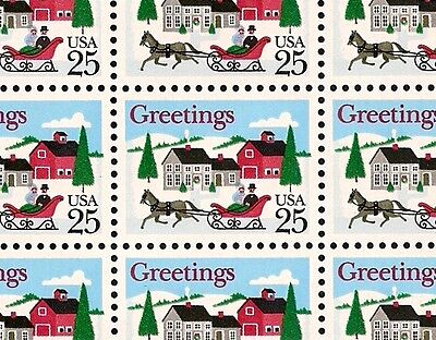 1988 - CHRISTMAS HORSE & SLEIGH - 2400 FULL MINT SHEET OF 50 POSTAGE STAMPS
