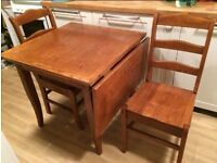 Very Heavy Old Drop leaf Table Solid Wood Ladder Back Chairs