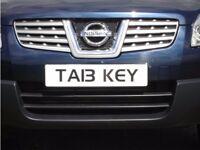 TAB KEY (TA13 KEY) PRIVATE NUMBER PLATE