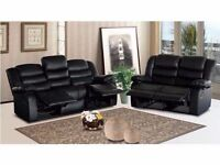 Roma Black or Brown Recliner Cupholder 3+2 Sofa Set Free Uk Delivery Zone 1 & Home Setup Brand New