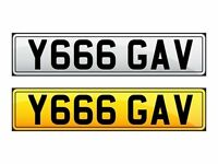 'Y666 GAV' CHERISHED NUMBER PLATE.