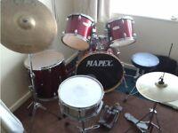 7 piece drum kit in blue