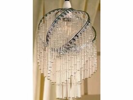 Chrome Spiral Glass Rod Ceiling Pendant Shade