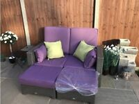 All year outdoor 2 seater sofa / daybed grey rattan garden sofa complete with luxury cushions
