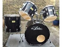 Aria black shell pack drum kit & Throne - excellent condition - ideal for beginner