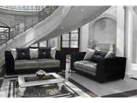 new diamond crushed velvet 3 & 2 sofa set in black silver or brown mink color - furniture