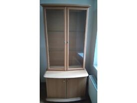 lovely beech effect display cabinet and cupboard, interior light