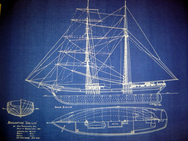 Brigantine Ship Galilee1891 San Francisco Blueprint Plan 23x32  (235)
