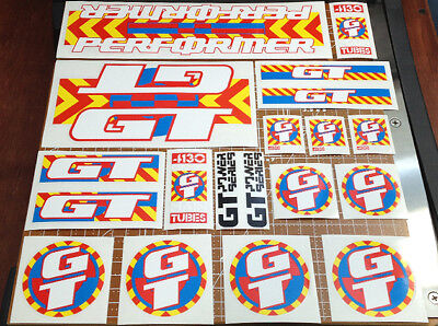 Set of 2 GT BMX Stickers RED//YELLOW//BLUE Authentic//Vintage FREE SHIPPING