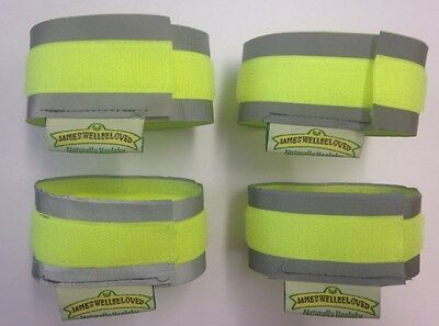 SKATEBOARDING REFLECTIVE HI VIS CUFFS STRIPS FLUORESCENT PROTECTION STRAPS
