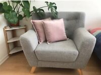 HUGE Grey Mid-Century Modern Scandi Armchair *URGENT SELL*