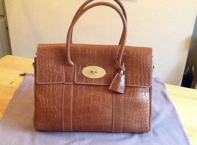 0890e60d70 Genuine Mulberry Bayswater Handbag - Tan Leather Croc Print - NEW