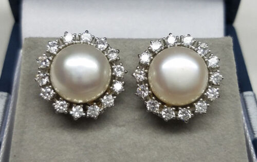 Genuine White Freshwater Cultured Pearl Stud Earrings 925 Sterling Silver CZ NEW
