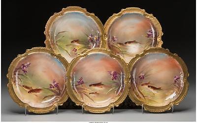 Ten Limoges Painted and Partial Gilt Porcelain Plates with Fish Mot... Lot 61772