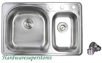 "33"" x 22"" Topmount Drop In Stainless Steel Kitchen Sinks 70/30 Double Bowl"