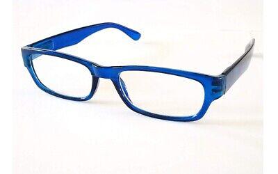 Lesebrille mit Etui Federscharnier dünne Gläser klein leicht flach blau +3,0
