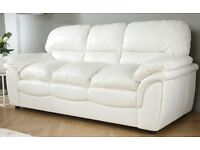 ROCHESTER IVORY LEATHER 3 SEATER SOFA