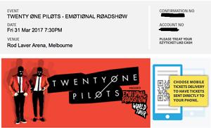 Twenty One Pilots Melbourne Concert 2 tickets Docklands Melbourne City Preview