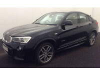 Black BMW X4 M Sport x drive 3.0 309bhp Automatic 2016 FROM £150 PER WEEK!