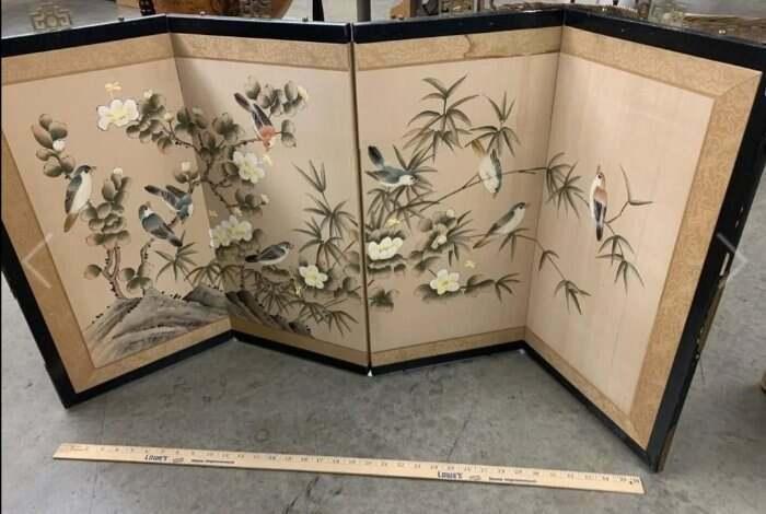 Vintage Asian 4 Panel Folding Screen Hand Painted Birds Hibiscus BYOBU