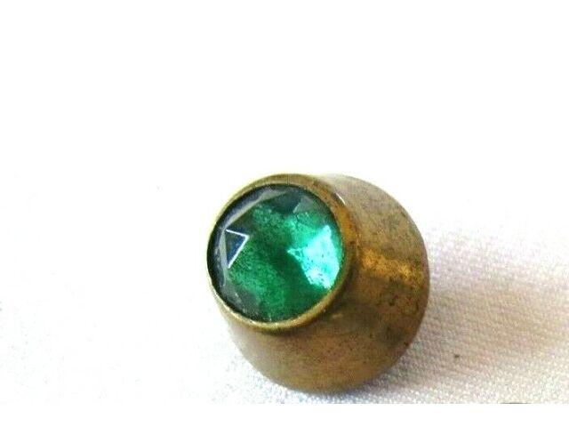 "Antique Green Jewel Faceted Waist Coat Button- W-1/2"" x H-1/2"""