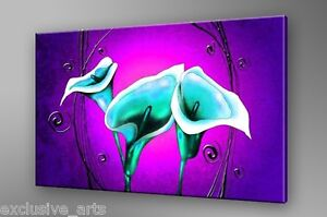 PREMIUM-GRADE-GALLERY-WRAPPED-PURPLE-WALL-ART-CANVAS-PRINT-TURQUOISE-FLOWER-A1