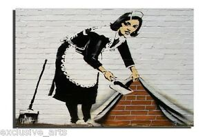 INSPIRING-BANKSY-GRAFFITI-ART-SWEEPING-MAID-DEEP-FRAMED-VARNISHED-CANVAS-PRINT