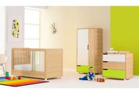 Mothercare puzzle play nursery furniture set, cotbed, wardrobe, chest of drawers
