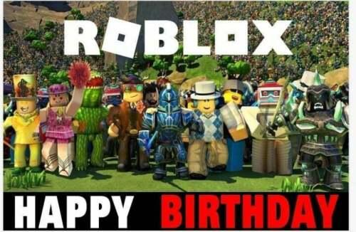 Backdrop ROBLOX Happy Birthday Party Backdrop Cartoon banner 🎈🧁🍰