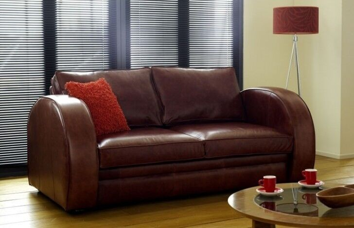 Chesterfield Company Astoria Leather Sofa 3 Seater Art Deco Style Chestnut