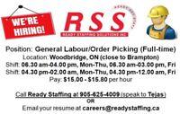 General Labour at Woodbridge (near Brampton)- $15.00-$15.80/hour
