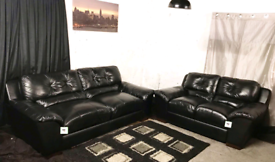 '' Dfs new ex display black real leather 3+2 seater sofas