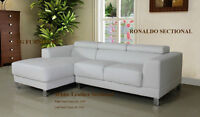 LEATHER SMULL SECTIONAL THE WHITE & BLACK COLOR