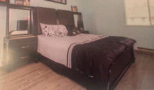 Black Bed with leather headboard