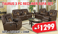 Taurus 3pc Bonded Leather Recliner Set, $1299