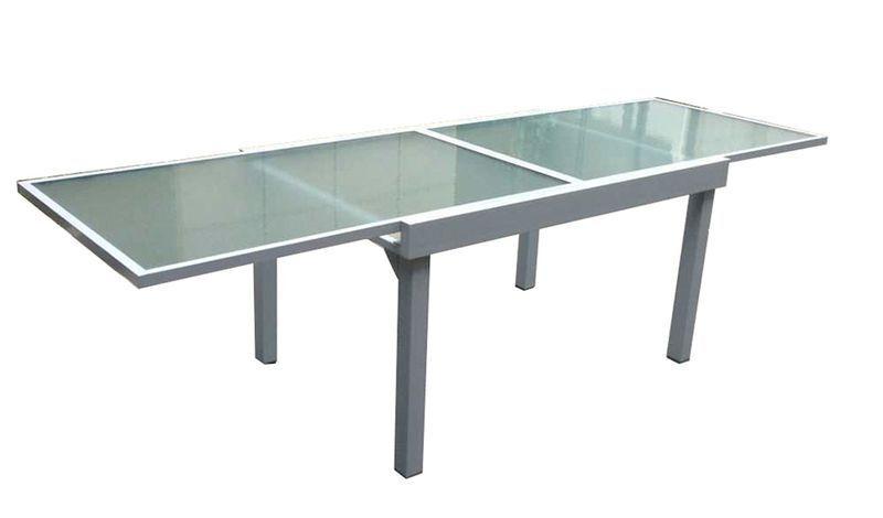 Ausziehtisch Esstisch Tisch Tafel Garten Terrasse Aluminium Glas