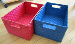 Blue and Pink Woven Storage Boxes For Sale!!