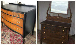 2 Elegant antique dressers, solid wood, newly refinished