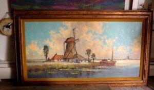 Large  Oil Painting Windmills by Wim Van Norden